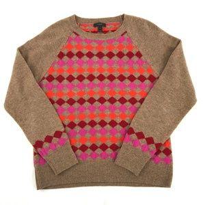 J. Crew 100% Lambswool Argyle Sweater Large
